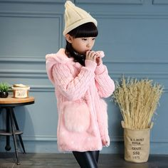 52.00$  Buy now - http://alizqq.worldwells.pw/go.php?t=32753630233 - Kids Girls winter coat 2016 new baby girls' clothing fashion fur sleeves Leather grass coat big virgin 6/7/8/9/10/11/12/13 years