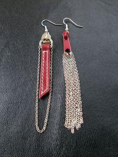 Mismatched zipper earrings asymmetric earrings burgundy