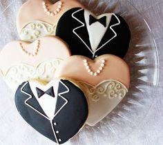 Gown and Tuxedo Hearts Wedding Cookies | Gelinlik ve Damatlik Sekilli Dugun Kurabiyeleri