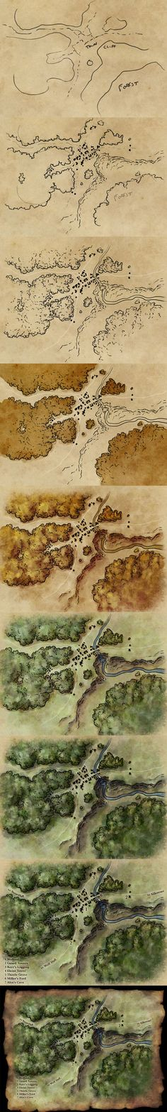 How to draw a map by torstan cartography resource tool. Actually for RPG games but also can be useful for getting started drawing your own maps Dark Fantasy, Rpg Horror, Tag Art, Rpg Dice, Science Art, Science Fiction, Science Daily, Fiction Writing, Science Experiments