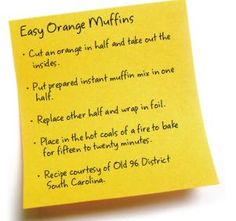 Camp BREAKFAST recipes    (check out the orange muffin recipe)
