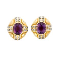 Pair of Gold, Amethyst and Diamond Earrings  14 kt., 2 oval amethysts ap. 11.8 x 7.2 mm., 48 round diamonds ap. 1.20 cts., ap. 10.3 dwts.