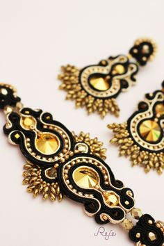 Reje creations soutache set Aurum-bracelet and earrings https://www.facebook.com/rejegioielliinsoutache