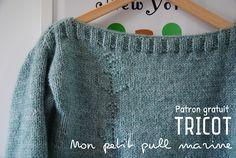 Tuto : Mon petit pull «marine» tricoté pour le printemps – Le blog de Caro Tricote