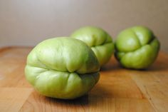 Chayote flavor is what you'd expect if a green apple ran into a squash, very light and fresh.     Chayote [chah-YOH-teh] is a member of the squash family. Popular in Latin cuisine chayote can be eaten raw or cooked, often found in salads, soups, baked and even pickled. When selecting a chayote look for smooth green skin free of bruises and firm to the touch. Folds at the tip of the chayote look like a puckered mouth.
