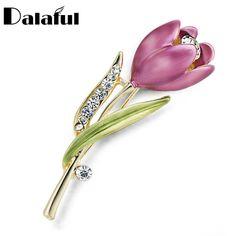 Elegant Tulip Flower Brooch Pin Rhinestone Crystal