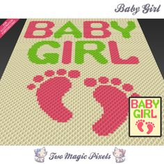 Baby Girl crochet blanket pattern; knitting, cross stitch graph; pdf download; no written counts or row-by-row instructions by TwoMagicPixels, $1.89 USD