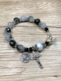 Rosary Bracelet With St Benedict Charm