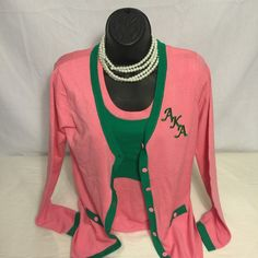 Alpha Kappa Alpha Sorority Green Cardigan sweater | Pretty Pearls ...