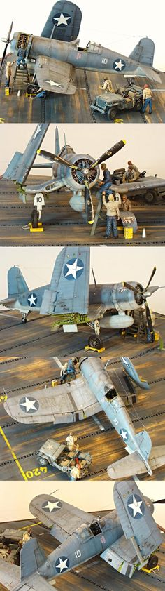 The Corsair has always been popular with diorama builders and this is an excellent job. I'd like to know what the scale is, though the detail on the metal strips in the carrier deck suggests 32nd scale.