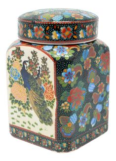 Vintage Square Ceramic Peacock and Flowers Ginger Jar on Chairish.com