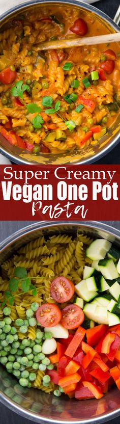 This vegan one pot pasta with red curry paste and coconut milk is one of my favorite vegetarian recipes! It's super easy to make and incredibly comforting!