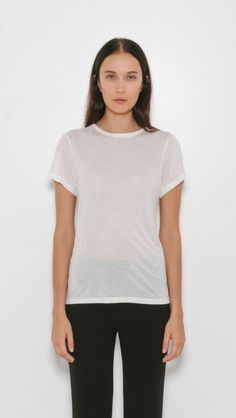 Sophisticated slips and separates in weighty silk. Smooth to the touch and elegantly draped styles from Vince, Raquel Allegra, and Helmut Lang. Basic Tees, Helmut Lang, Go Shopping, Simple Style, Classic T Shirts, Tee Shirts, Lingerie, V Neck, Silk