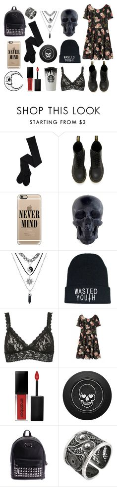 """""""Floral grunge"""" by lostandfound92 ❤ liked on Polyvore featuring Dr. Martens, Casetify, Killstar, Hanky Panky, Smashbox, Michael Kors and NOVICA"""