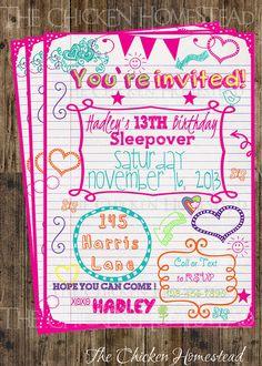 Custom Girl's Sweet 16, Sleepover, doodle birthday invitation!! Digital-printable-invite!!