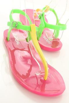 Yellow Green Fuchsia Plastic T Strap Thong Post Flat Sandals    These stylish sandals are a must have! Featuring plastic upper with T strap design, thong post, and side buckle closure.