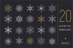 20 geometric snowflakes icons set By Marish