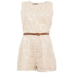 Parisian Cream Lace Belted Playsuit ($39) ❤ liked on Polyvore