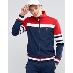 Fila Vintage Track Jacket (£60) ❤ liked on Polyvore featuring men's fashion, men's clothing, men's activewear, men's activewear jackets and navy
