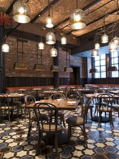 In GATO dining area the chairs, by John Celli, are similar to the bentwood style bar stools with dark b… Deco Restaurant, Restaurant Photos, Rustic Restaurant, Restaurant Lighting, Restaurant New York, Restaurant Interior Design, Cafe Interior, Commercial Design, Commercial Interiors