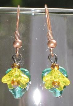 Summer yellow sunflower drop/dangle hook earrings - July