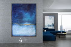 Minimalist oversized wall art inspired by Mark Rothkos artworks classified as color field paintings. Color field art is characterized by simple composition and high emotional impact, achieved through spreading block colors on large pieces of canvas. This item is fully handmade, painted with acrylic