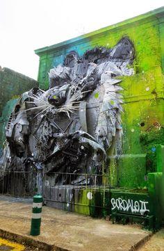 Big Racoon 3D Street Art by Bordalo II