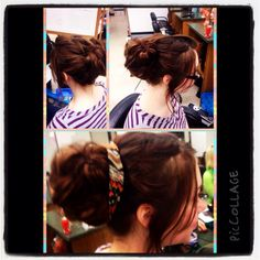 Messy bun on Heidi. If only I had this much hair!