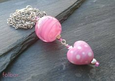 Pink polka dot heart and swirl bead pendant, pink heart necklace £16.00