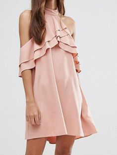 Pink Halter Ruffle Detail Backless Mini Dress