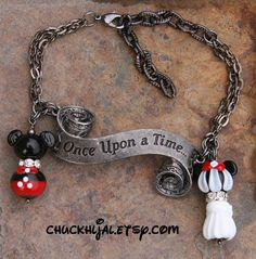 Once Upon a Time There was a Mr. and Mrs. Mickey Mouse DeSIGNeR Disney Inspired Bracelet. $65.00, via Etsy.
