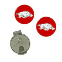 Arkansas Hat Clip and Ball Markers by Team Effort. $9.95. Attaches To Visor Or Hat. Collegiate Trademark. Includes Two Ball Markers. Magnetic Hat Clip. Magnetic hat clip with ball markers attaches to hat or visor.  Includes interchangeable ball markers with collegiate trademark.
