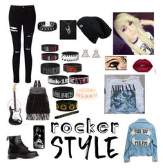"""Rocker Chick"" by princesspenguins ❤ liked on Polyvore featuring Miss Selfridge, Vanessa Mooney, Dr. Martens, Glamorous, rockerchic and rockerstyle"