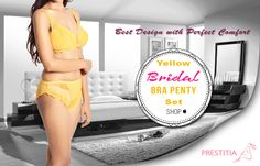 shop now yellow bridal bra panty at prestitia.for more visit http://www.prestitia.co.in/