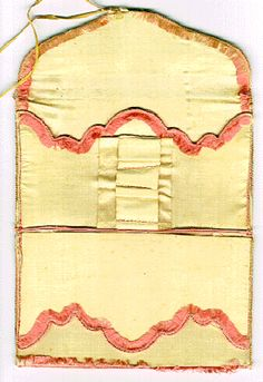 Lady's embroidered silk pocket book or letter case (open), c. 1780-1800. This pocket book could hold bank notes or letters. The center section might have been used for scissors, a pencil, or a penknife.