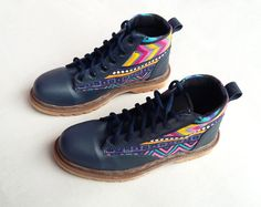 blue navy leather shoes blue yellow ikat by MarapulaiClothing