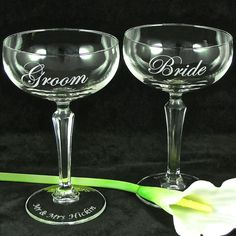 Bride and Groom Champagne Coupes - available at:  www.BradGoodellWeddings.com