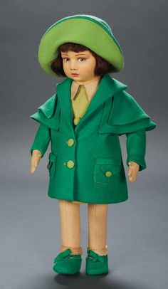 Apples - An Auction of Antique Dolls: 59 Italian Felt Character Girl by Lenci with Vibrant Stylish Costume
