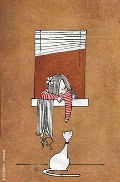 Cat and girl illustration, © Nathalie Jomard Art And Illustration, Illustration Mignonne, I Love Cats, Crazy Cats, Art Mignon, Cat Art, Painting & Drawing, Illustrators, Art Drawings