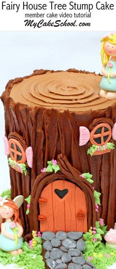 Learn to make an adorable Fairy House Tree Stump Cake in this My Cake School cake video tutorial! Perfect for woodland themed cakes also! Fairy House Cake, Fairy Garden Cake, Garden Cakes, Fairy Cakes, Creative Cake Decorating, Creative Cakes, Cupcakes Decorating, Decorating Tools, Fairy Birthday Cake