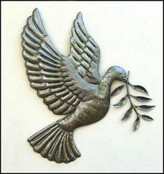 """Dove and Olive Branch Metal Wall Art - Haitian Steel Drum Design Wall Hanging - 17"""" x 18"""""""
