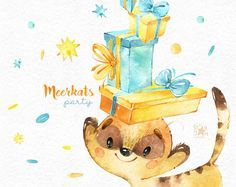 This Meerkats Party watercolor set is just what you needed for the perfect invitations, craft projects, paper products, party decorations, printable, greetings cards, posters, stationery, scrapbooking, stickers, t-shirts, baby clothes, web designs and much more. :::::: DETAILS :::::: This collection includes: - 57 Images in separate PNG files, transparent background, size approx.: 13-1in (4000-300px) 300 dpi, RGB Another sets with Meerkats: https://www.etsy.com/shop/St...