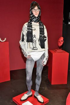 Designer: Claire Barrow x John Smedley collection for LFW AW 16. Digital printing on merino wool batwing jumper and fingerless gloves. Picture credit: www.vogue.co.uk
