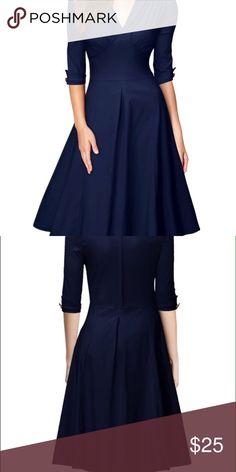 Navy blue swing dress Deep v-neck navy blue swing dress has half sleeves material is 64% cotton 32% nylon and 4% spandex Dresses Midi