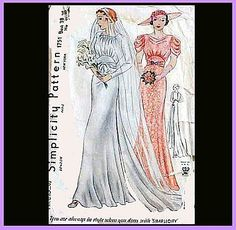 Rare 1930s Vintage Sewing Pattern Wedding Dress Evening Gown Bust 3