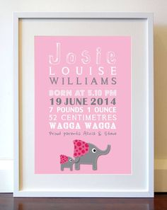 Personalised Birth Prints by Invitation Boutique