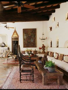 Spanish Hacienda see wall with niches, architectural details over doors