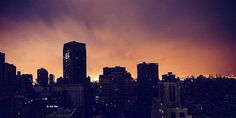 Glow over Manhattan.         Astounding images of New York City plunged into darkness.