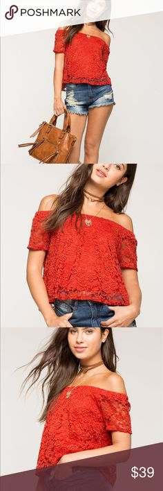NWT Adrianna crochet lace off shoulder top blouse Brand New very pretty Adrianna crochet lace off the shoulder top blouse. Choose red or teal. XS small medium. Check out my closet, we have a variety of women's MK Micheal Kors Lululemon Free People Lucky Brand jeans Coach Pink VS Victoria Secret handbags 👜 purse 👛 shoes 👠 sandals Gold, silver black chocker pineapple 🍍 bracelet earrings dresses 👗 tops 👚 skirts bags leggings Beauty & more...Offers 30% OFF discount. FREE GIFT 🎁 with every…