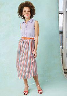 <p>It's in your nature to cherish a bold look, so reach for this striped skirt from our ModCloth namesake label whenever the urge to be distinct strikes! Coral, white, muted navy, and aqua stripes brighten up the breezy chiffon fabric of this high-waisted wonder, catering directly to your penchant for prominence.</p>